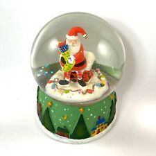 """Santa With Stocking Water Snow Globe - plays """"Silent Night�. 6 in. Glitter Snow"""