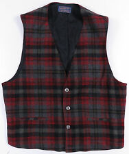 VINTAGE PENDLETON SHADOW PLAID WOOL BUTTON UP VEST WAISTCOAT HUNTING OUTDOORS