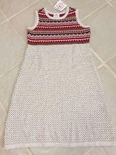 New Hanna Andersson Girls Fair Isle Beige Sweater Jumper Dress sz 160 (12-teen)