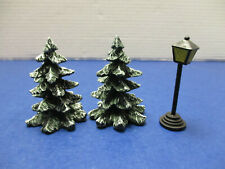 Lefton Colonial Christmas Village Accessories 2 Small Fir Trees & Lamp Post
