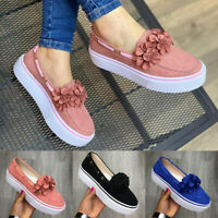 Women Fashion Flowers Sneakers Slip-On Flat Platform Casual Single Shoes Loafers