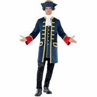 Mens Poldark Pirate Buccaneer Deluxe Coat Hat Fancy Dress Costume Outfit New XL