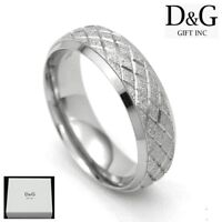 DG Men's Stainless-Steel Silver Band Rings 8,9,10,11,12 13 + Box