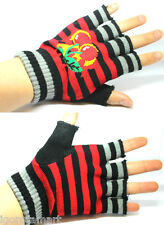 Pair Knitted Hand Wrist Fingerless Winter Warmer Cherry Stripe Gloves