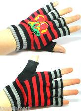 Half Finger Stretchy Knit Red Stripe Gloves Fingerless Mittens Glove Warm Gift