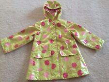 Girls size 4 vinyl raincoat green pink polka dot Osh Kosh B'Gosh rain jacket