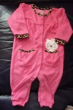 NEW 3/6 Months Baby Pussy Cat Pink & Leopard print trim Sleepsuit 100% Cotton