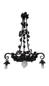 Grande lampadario in ferro con fiori e foglie - da taverna - stile  rinascimento