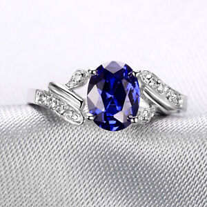 Handmade 2.10ct Sapphire Size US 7 14K White Gold Ring CM134