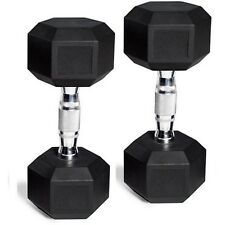 CAP Barbell Rubber-Coated Hex Dumbbells Gym Workout Fitness Weights 5 lb Pair