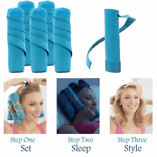 "6"" 8 Rollers Women Sleep Hair Styling Styler Salon Curler Set Long Curly Kit AU"