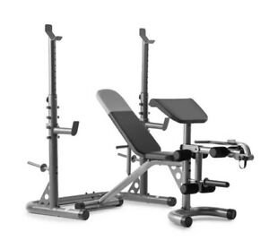 NEW weider XRS 20 Adjustable Bench with Olympic Squat Rack and Preacher Pad...