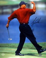 "Tiger Woods Signed Autographed 16X20 Photo Iconic Famous ""Fist Pump"" UDA"