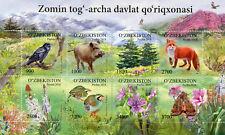 Uzbekistan 2018 MNH Flora & Fauna 8v M/S Foxes Trees Birds Butterflies Stamps