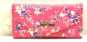 Adrienne Vittadini Fold Up RFID Wallet with Phone Pocket Clutch Pink Floral New!