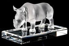 Medium Faberge Pate De Verre Crystal Lalique Style Rhinoceros, Edition 06/150