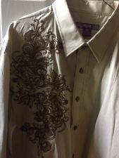 Empra Mens 2XL Dress/Casual Tan LS W/ Brown Embroidery Shirt Cuff Design