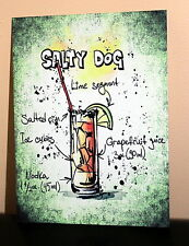 Retro Salty Dog cocktail recipe A5 metal sign house gift idea vintage design