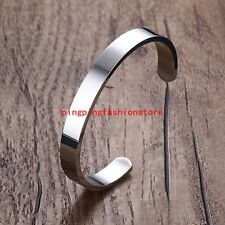8mm Fashion 316L Stainless Steel Silver Polished Cuff Bangle Men Women Bracelet