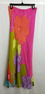 rene derhy dress medium pink multicolor floral sequined strapless 100% rayon