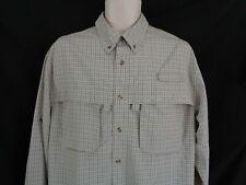 L. L. Bean Khaki plaid vented long sleeve shirt men's M reg