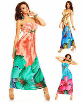 Top Womens Maxi Dress Ladies Clubbing Floral Bandeau Party Blouse Size 6 8 10 12