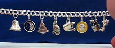 Heavy Charm Bracelet 925 Sterling Silver Double Link Beautiful Handmade S46