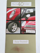 Fantastica COLORATA racing mini auto sei 40 oggi quarantesimo anniversario greeting card