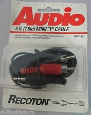 """LOT OF 6 RECOTON Audio 6 FT Mini """"Y"""" Cable (ACW339) Stereo Mini To 2 RCA Plugs"""