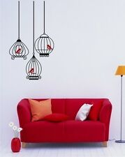 Wall Decals Birdcage Grouping with 3 birds - Vinyl Stickers Art Graphics