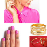 5pcs Set Gold Shiny Stack Plain Above Knuckle Band Pinky Midi Ring Women