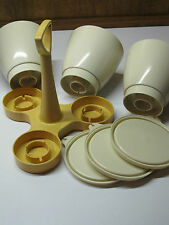 VTG TUPPERWARE 3 Cream Cups GOLD CONDIMENT CADDY Organizer 7 pcs Made in the USA