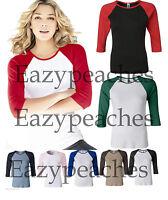 Bella Ladies NEW Size S-2XL Baseball Raglan 3/4 Sleeve T-Shirt TEE Womens 2000