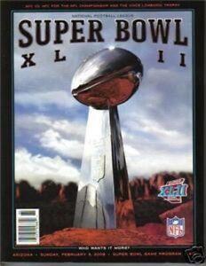 Superbowl XLII NEW Game Program NY GIANTS Super Bowl 42 Magazine NFL Memorbilia