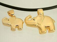 Goldener Elefant Anhänger Gold pl groß oder klein an Kautschukkette Panzerkette