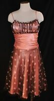 CHIC Morgan & Co. Brown & Pink Polka Dot Empire Formal Prom Party Dress 9/10
