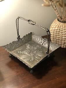 Vtg Embossed Handled Fruit Basket Victorian Quadruple Silver Plate Wilcox Silver