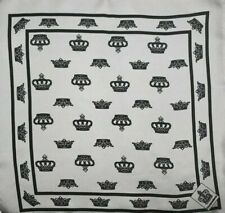 DOLCE & GABBANA MENS SILK  PRINTED BLACK CROWN POCKET SQUARE MADE IN ITALY