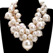 Fashion Gold Chain White Big Pearl Chunky Choker Statement Pendant Bib Necklace