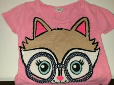 Justice Pink Crop Sweater, Tan Kitty with Blue Eyes, Silver Sequins SZ 10 EUC