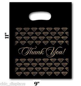 "100Pc Thank You Bags Black Merchandise Bags Plastic Retail Handle Bag 9""x11""H"