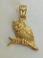 Solid Real 10k Yellow Gold Owl good luck Pendant Charm .75 inch long