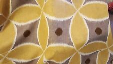 GEOMETRIC CONTEMPORARY GOLD GREY WHITE  LINEN PRINT UPHOLSTERY  FABRIC