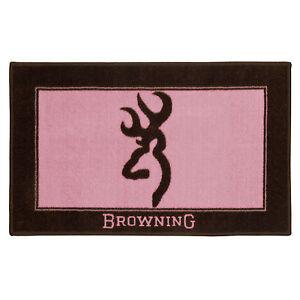 "Browning Buckmark Pink 2pc - 1 Bath Mat 34""x20"" / Valance 88""x18"" Pink Buckmark"