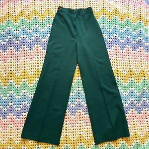 Vintage 70s Womens Green Wide Leg Pants High Waist Rise 24x31 Slacks Trousers XS