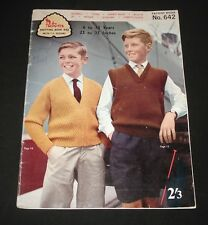 VINTAGE 1960s PATONS KNITTING BOOK #642 Boys Cardigans  Jumpers etc