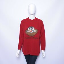 Vintage United Colors of Benetton Wool Sweater Red Embroidery  Made in Italy