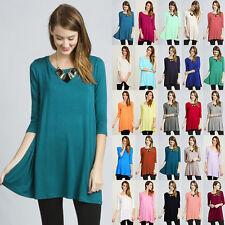 IRON PUPPY 3/4 Slv Dolman A-Line Long Tunic Loose Top Knit Dress-USA(S~3XL)