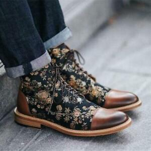 Men's 2020 Winter Fashion Floral Two Tone Lace Up Combat Ankle Boots Shoes N122