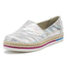 TOMS Platform Womens Silver Canvas Espadrilles Ladies Casual Flats Shoes